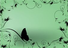 Green decorative design with butterfly. And place for text Royalty Free Stock Photos