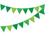 Green decorative flags streamers to celebrate St. Patrick`s Day decorations. Stock Images