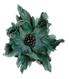 Green decorative flower made of leather Stock Photography