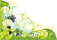 Green decorative flowers design Stock Image