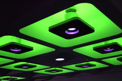 Green decorative funky coloured lights. Green decorative funky coloured indoor ceiling lights Stock Images