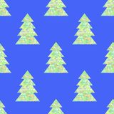 Green Decorative Seamless Pattern. On Blue Background Stock Photography