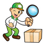 Green Delivery Man mascot examine a with a magnifying glass. Pro Stock Photo
