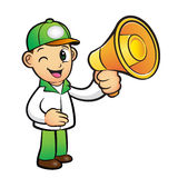 Green Delivery Man Mascot the hand is holding a loudspeaker. Pro Royalty Free Stock Photography