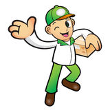 Green Delivery Man mascot the left hand guides and the right han Royalty Free Stock Image