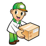 Green Delivery Man mascot moving a box. Product and Distribution Stock Photos