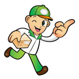 Green Delivery Man mascot the right hand guides and the left han Royalty Free Stock Image