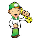 Green Delivery Man Mascot To answer a phone call orders. Product Royalty Free Stock Photography
