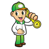 Green Delivery Man Mascot To answer a phone call orders. Product Stock Images