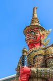 Green Demon Guardian Statue against Blue sky Backg. Green Demon  Guardian Statue against Blue sky Background in Thai Temple, Bangkok, Thailand Stock Photos