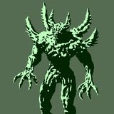Green demon with spikes stands ready to attack. Vector illustration. stock illustration