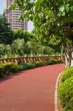 green den frodiga parkbanan Royaltyfri Bild