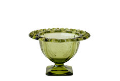 Green Depression Glass Vase. Small vintage lace-edged green depression glass vase; white background stock image