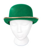 Green derby hat with clipping path. Green Irish derby hat with a clipping path Royalty Free Stock Images