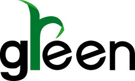Green Design. Green word combine with green leaf Stock Photography