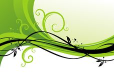Green design with curls Stock Photos