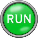 Green design run in round 3D button Royalty Free Stock Photos
