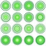 Green designs. Green circular ornamental design patterns - VECTOR Royalty Free Stock Image