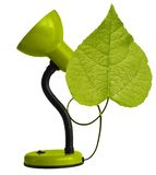 Green desk-lamp with leaf Royalty Free Stock Photo