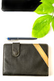 Green desktop diary pen tablet foliage background Stock Photo