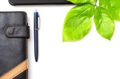 Green desktop diary pen tablet foliage background Stock Photos