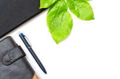 Green desktop diary pen tablet foliage background Stock Image