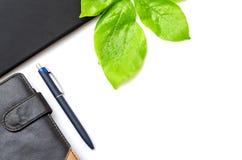 Green desktop diary pen tablet foliage background Stock Image