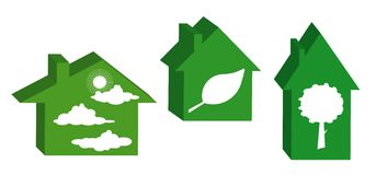 Green det ekologiska huset. stock illustrationer