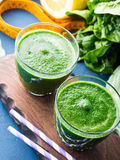 Green detox smoothie for diet Stock Photos