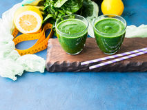 Green detox smoothie for diet Stock Photo
