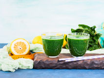 Green detox smoothie for diet Royalty Free Stock Photo