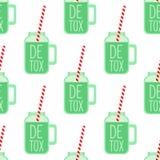 Green detox smoothie in mason jar glass seamless pattern on white background. Royalty Free Stock Photo