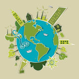 Green development concept Earth. Go green concept world. Industry sustainable development with environmental conservation Globe. Vector illustration file layered Royalty Free Stock Photography