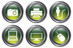 Green Device Buttons. A set of 6 shiny green device buttons with metallic borders Royalty Free Stock Photography