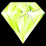 Green diamond against black Royalty Free Stock Photo