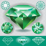 Green diamond emerald gemstone Stock Photography