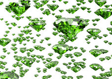 Green diamond  on white background with clipping path Stock Photos