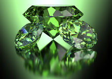 Green diamond  on white background with clipping path.  Royalty Free Stock Photo