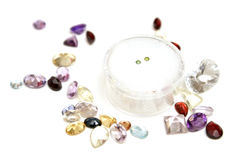 Green Diamonds with Gems Stock Photos