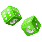 Green dice. Illustration of green dice icon Stock Image