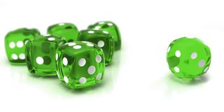 Green dice Stock Images