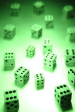 Green dice Stock Photography