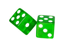 Green Dice - Clipping Path Royalty Free Stock Photos