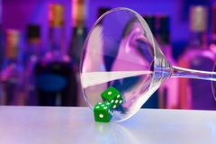 Green dice in cocktail glass with bar on back Stock Photography
