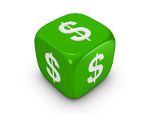 Green dice with dollar sign Royalty Free Stock Images
