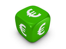 Green dice with euro sign. One green dice with euro sign isolated on white background Royalty Free Stock Photography