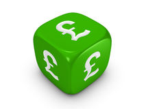 Green dice with pound sign Stock Photography