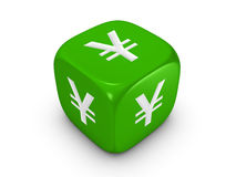Green dice with yen sign Royalty Free Stock Photos