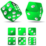 Green dices. Set of green dices isolated on white background Stock Photography