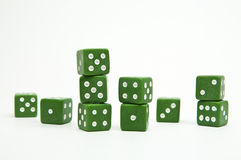 Green dices isolated. Group of green dices isolated on white background Royalty Free Stock Photos